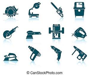 werk aan werktuig, set, elektrisch, pictogram