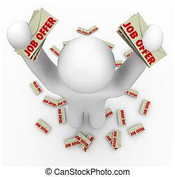 werk, aanbiedingen, -, man, met, velen, baanaanbieding,...