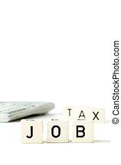 werk, belasting, geld, rekenmachine, economie, concept