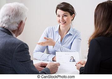 werk, menselijk, team, interview, gedurende, middelen