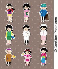 werk, stickers, mensen