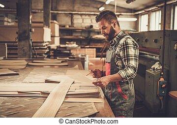 werk, zijn, timmerman, workshop., meubelmakerij