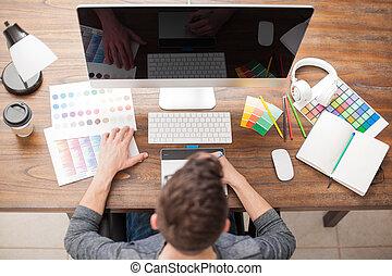 werkblad, grafische ontwerper, aanzicht