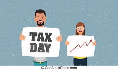 werkdag, animatie, etiket, belasting, paar