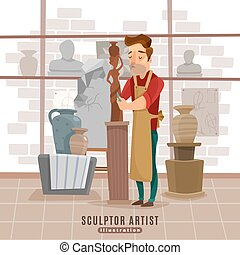 werken, beeldhouwer, illustratie, kunstenaar