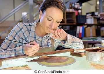 werken, beschouwen, haar, kunstenaar