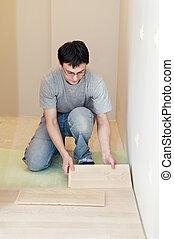 werken, bevloering, laminated, plank