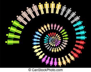 werken, concept, kleurrijke, handel team