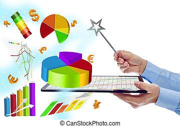 werken, doelmatigheid, schating, met, moderne, digitale , artikelen & hulpmiddelen