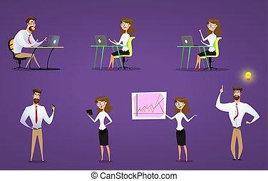 werken, draagbare computer, businesswoman, set., thery, zakenman