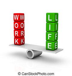 werken, en, leven, evenwicht