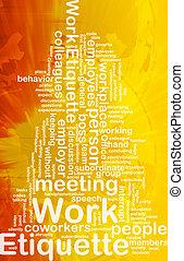 werken, etiquette, concept, achtergrond