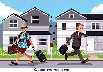 werken, gaan, concept, vakantie, mensen