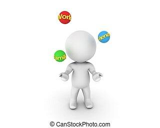 werken, gezin, frien, juggling, 3d, man