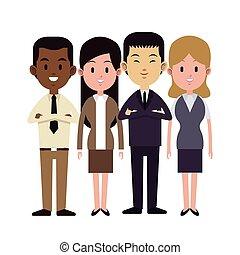 werken, groep, multi-etnisch, zakenlui