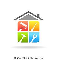 werken, herstelling, concept, gereedschap, thuis