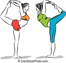 werken, illustratie, vector, fitness, uit, vrouwen