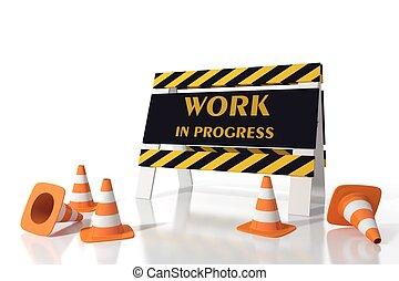 werken, in, voortgang