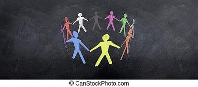 werken, kleurrijke, team