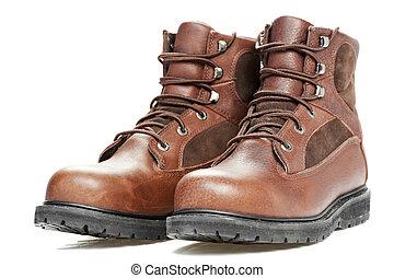werken laarzen, slijtage, achtergrond, nieuw, witte