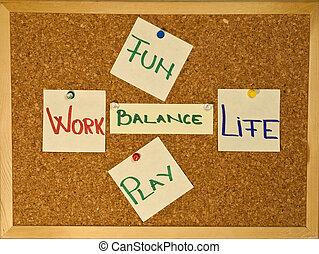 werken, leven, evenwicht, met, plezier, een, toneelstuk