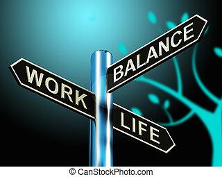 werken, leven, evenwicht, wegwijzer, het tonen, carrière, 3d, illustratie