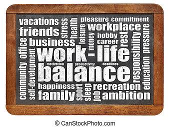 werken, leven, evenwicht, woord, wolk