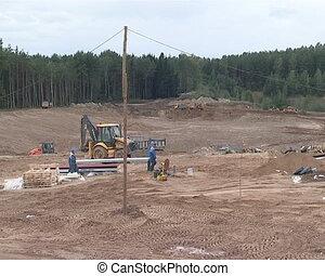 werken, op, bouwsector, bouwterrein