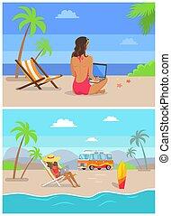 werken, set, freelance, kust, illustratie, vector