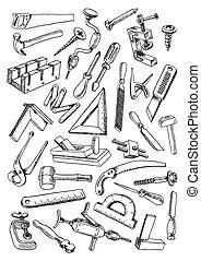 werken, set, gereedschap, meubelmakerij