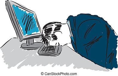 werken, slaperig, illustratie, man