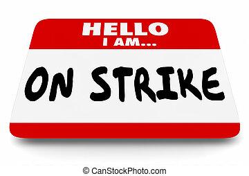 werken, sticker, protest, nametag, staking, illustratie, ...