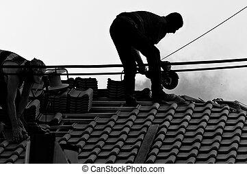 werken, werkmannen , industriebedrijven, hard, dak
