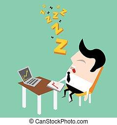werken, zakenman, het vallen, zijn, slapend