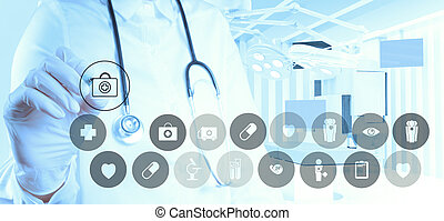 werkende , arts, moderne, hand, geneeskunde, computer, interface