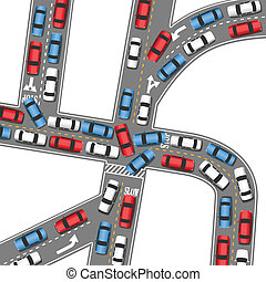 werkende, auto, besturen, jam, verkeer, auto's, straat