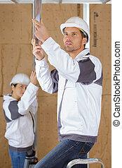werkende , binnen, bouwterrein, 2, timmerlieden, bouwsector
