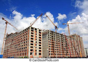 werkende , bouwsector, kranen