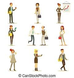 werkende, financiën, kantoor, businesswoman, werknemers, werken, zakelijk, set, karakters, illustraties, zakenman, kostuums, spotprent