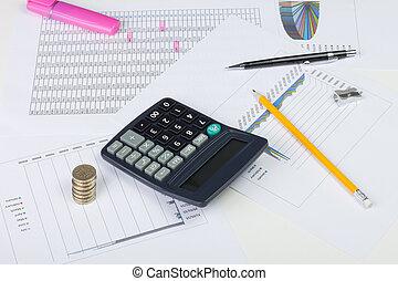 werkende, financieel, desktop, met, rekenmachine, geld, en, diagrammen