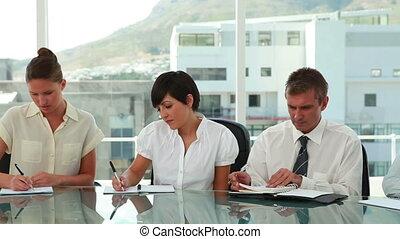 werkende , handel team, serieus