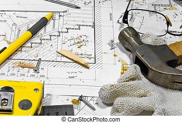 werkende, hobby, workbench., anders, timmerman, tools:, hummer, rolmeter, ruller, en, een, potlood, zijn, het liggen, in, de, zaag, stof, op, de, blauwdruken, en, werkjes, langs, met, schroeven, beschermende handschoenen, en, grasses.