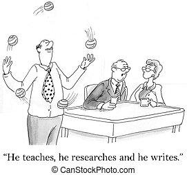 werkende , hoe, terwijl, geleerd, jongleren, hij