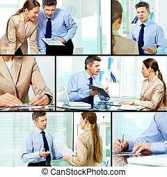 werkende , in, kantoor