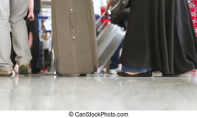 werkende, internationale luchthaven