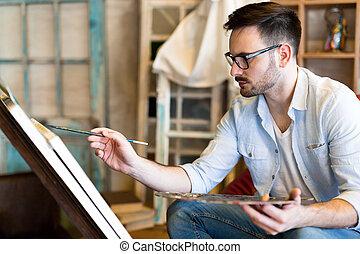 werkende , kunstenaar, studioportret, mannelijke , schilderij