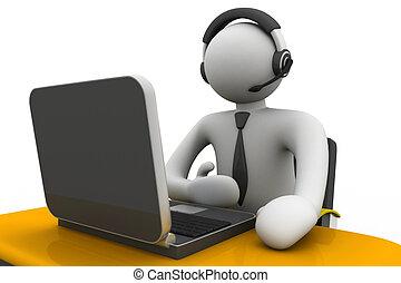 werkende , man, calldesk, 3d