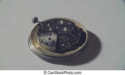werkende , mechanisme, van, de, oud, klok
