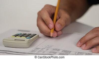 werkende , met, rekenmachine