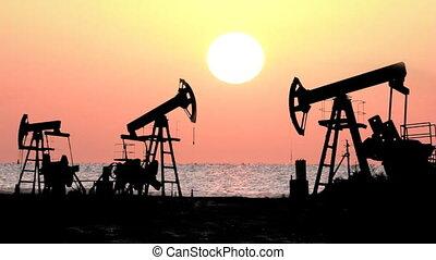 werkende , olie pompt op, silhouette, tegen, zonopkomst